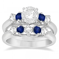 Five Stone Diamond and Sapphire Bridal Ring Set 18k White Gold (1.10ct)
