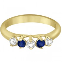 Five Stone Diamond and Sapphire Wedding Band 18kt Yellow Gold (0.60ct)