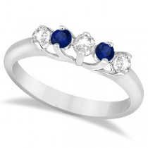 Five Stone Diamond and Sapphire Wedding Band Palladium (0.60ct)