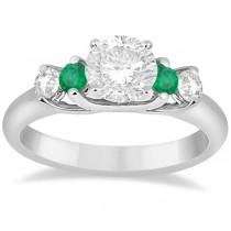 Five Stone Diamond and Emerald Engagement Ring 18k White Gold (0.44ct)