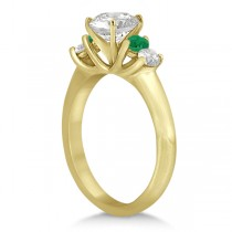 Five Stone Diamond and Emerald Bridal Ring Set 14k Yellow Gold (0.98ct)