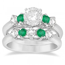 Five Stone Diamond and Emerald Bridal Ring Set Palladium (0.98ct)