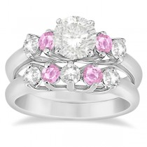 Five Stone Diamond & Pink Sapphire Bridal Ring Set 14k Wht Gold, 1.10ct