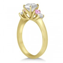 5 Stone Diamond & Pink Sapphire Bridal Ring Set 14k Yellow Gold, 1.10ct