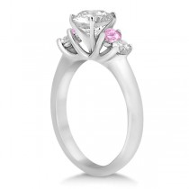 5 Stone Diamond & Pink Sapphire Bridal Ring Set 18k White Gold, 1.10ct