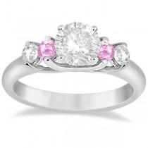 5 Stone Diamond & Pink Sapphire Bridal Ring Set Platinum, 1.10ct