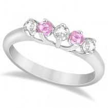 Five Stone Diamond and Pink Sapphire Wedding Band 14kt White Gold (0.60ct)