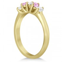 Five Stone Diamond & Pink Sapphire Wedding Band 14kt Yellow Gold (0.60ct)