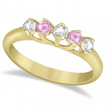 Five Stone Diamond & Pink Sapphire Wedding Band 18kt Yellow Gold (0.60ct)