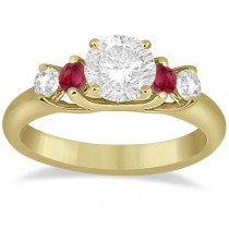 Five Stone Diamond and Ruby Engagement Ring 18k Yellow Gold (0.50ct)