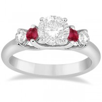 Five Stone Diamond and Ruby Engagement Ring Platinum (0.50ct)
