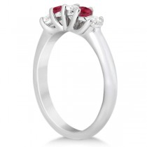 Five Stone Diamond and Ruby Bridal Ring Set 14k White Gold (1.10ct)