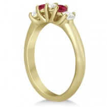 Five Stone Diamond and Ruby Bridal Ring Set 14k Yellow Gold (1.10ct)