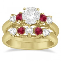 Five Stone Diamond and Ruby Bridal Ring Set 18k Yellow Gold (1.10ct)