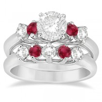 Five Stone Diamond and Ruby Bridal Ring Set Palladium (1.10ct)
