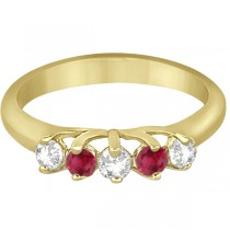 Five Stone Diamond and Ruby Wedding Band 14kt Yellow Gold (0.60ct)