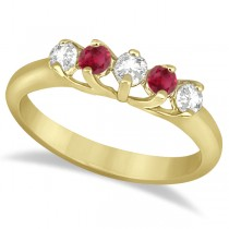 Five Stone Diamond and Ruby Wedding Band 18kt Yellow Gold (0.60ct)