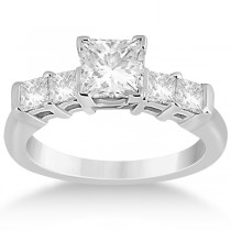5 Stone Princess Cut Diamond Engagement Ring 14K White Gold (0.40ct)