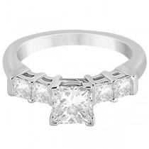 5 Stone Princess Cut Diamond Engagement Ring 18k White Gold (0.40ct)