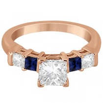 5 Stone Princess Diamond & Sapphire Engagement Ring 14K R. Gold 0.46ct