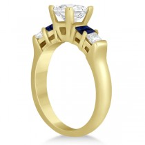 5 Stone Princess Diamond & Sapphire Engagement Ring 14K Y. Gold 0.46ct