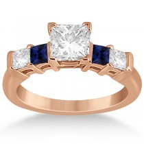 5 Stone Princess Diamond & Sapphire Engagement Ring 18K R. Gold 0.46ct