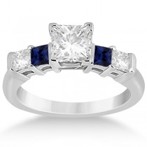 5 Stone Princess Diamond & Sapphire Engagement Ring 18K W. Gold 0.46ct