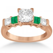5 Stone Princess Diamond & Emerald Engagement Ring 18K R. Gold 0.46ct