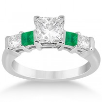 5 Stone Princess Diamond & Emerald Engagement Ring 18K W. Gold 0.46ct