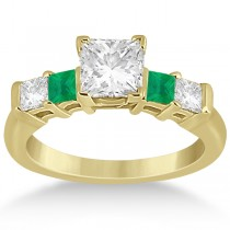 5 Stone Princess Diamond & Emerald Engagement Ring 18K Y. Gold 0.46ct