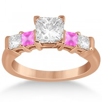 5 Stone Diamond & Pink Sapphire Engagement Ring 14K Rose Gold 0.46ct