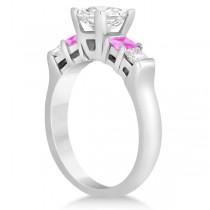 5 Stone Diamond & Pink Sapphire Engagement Ring 14K White Gold 0.46ct