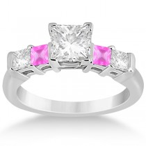 5 Stone Diamond & Pink Sapphire Engagement Ring 18K White Gold 0.46ct