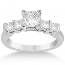 5 Stone Princess Cut Diamond Engagement Ring Platinum (0.40ct)