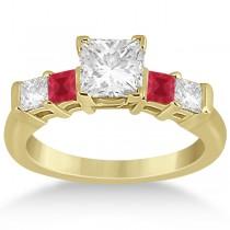 5 Stone Princess Diamond & Ruby Engagement Ring 14K Yellow Gold 0.46ct