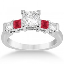 5 Stone Princess Diamond & Ruby Engagement Ring 18K White Gold 0.46ct