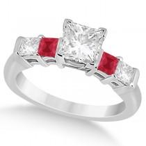 5 Stone Princess Diamond & Ruby Engagement Ring Platinum 0.46ct