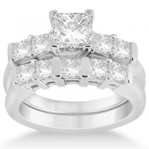 Five Stone Princess Cut Diamond Bridal Set 14K White Gold (0.90ct)