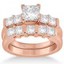 Five Stone Princess Cut Diamond Bridal Set 18k Rose Gold (0.90ct)