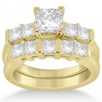 Five Stone Princess Cut Diamond Bridal Set 18k Yellow Gold (0.90ct)