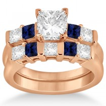 5 Stone Diamond & Blue Sapphire Bridal Set 14K Rose Gold 1.02ct