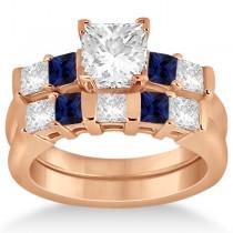 5 Stone Diamond & Blue Sapphire Bridal Set 18k Rose Gold 1.02ct
