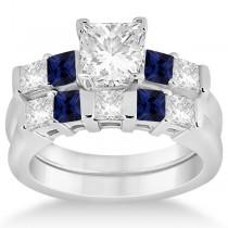 5 Stone Diamond & Blue Sapphire Bridal Set Platinum 1.02ct
