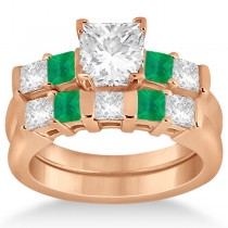 5 Stone Diamond & Green Emerald Bridal Ring Set 18k Rose Gold 1.02ct