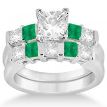 5 Stone Diamond & Green Emerald Bridal Ring Set 18k White Gold 1.02ct