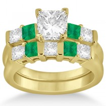 5 Stone Diamond & Green Emerald Bridal Ring Set 18k Yellow Gold 1.02ct