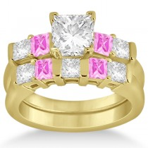 5 Stone Diamond & Pink Sapphire Bridal Set 18k Yellow Gold 1.02ct