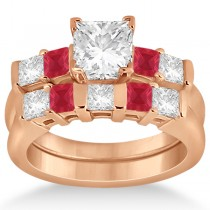 5 Stone Princess Diamond & Ruby Bridal Ring Set 14K Rose Gold 1.02ct