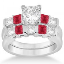 5 Stone Princess Diamond & Ruby Bridal Ring Set 14K White Gold 1.02ct