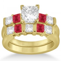 5 Stone Princess Diamond & Ruby Bridal Ring Set 18k Yellow Gold 1.02ct